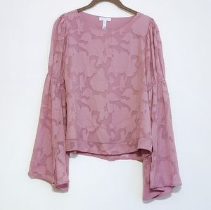 NEW Leith Mauve Floral Bell Sleeve Top